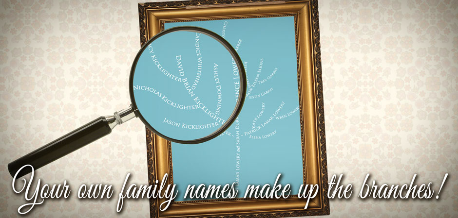 custom family tree art with names as branches slide
